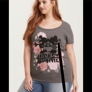 Torrid Gray Floral Micky Minnie T Shirt Size 2